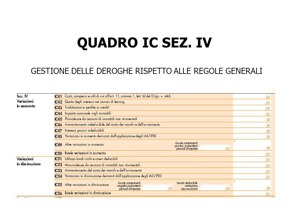 GESTIONE DELLE DEROGHE RISPETTO ALLE REGOLE GENERALI