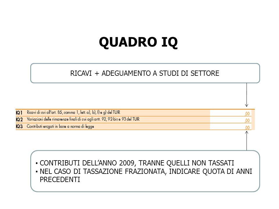 RICAVI + ADEGUAMENTO A STUDI DI SETTORE