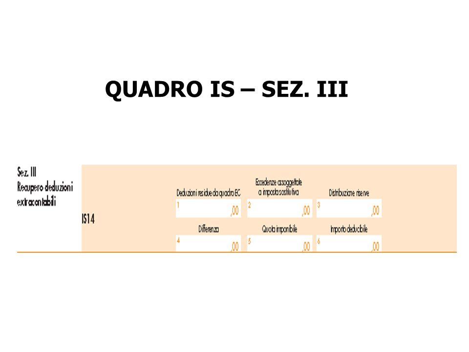 QUADRO IS – SEZ. III