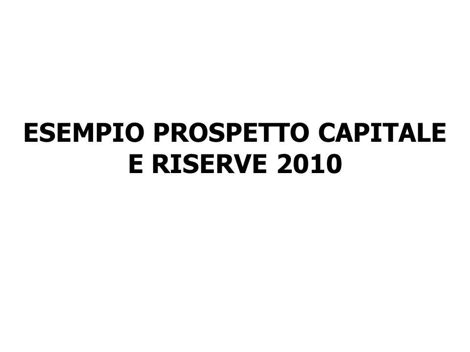 ESEMPIO PROSPETTO CAPITALE E RISERVE 2010