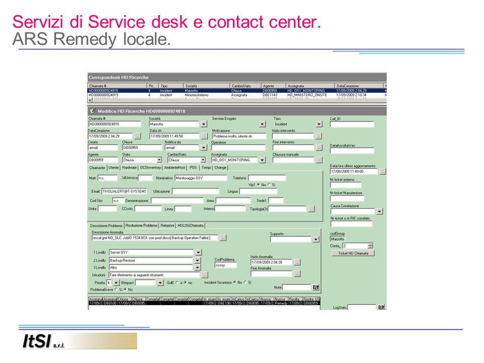 Servizi di Service desk e contact center. ARS Remedy locale.
