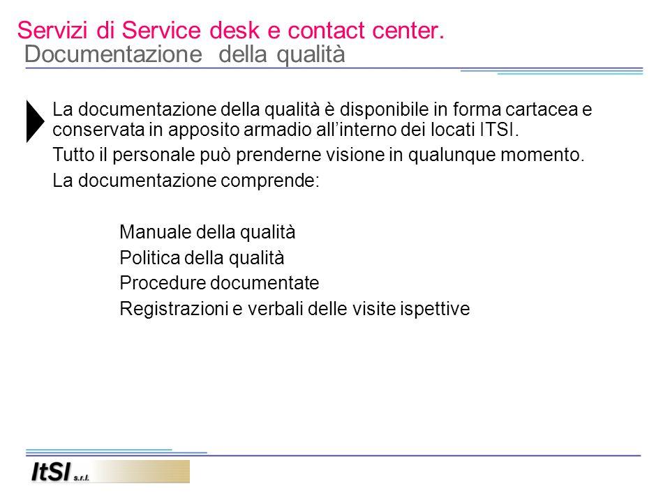 Servizi di Service desk e contact center. Documentazione della qualità