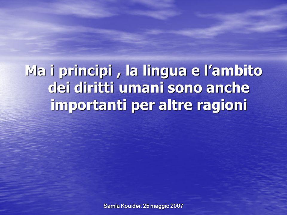 Ma i principi , la lingua e l'ambito dei diritti umani sono anche importanti per altre ragioni