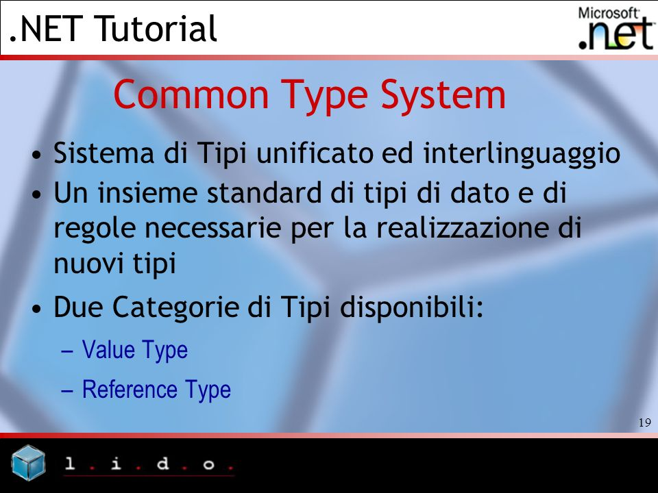 Common Type System Sistema di Tipi unificato ed interlinguaggio