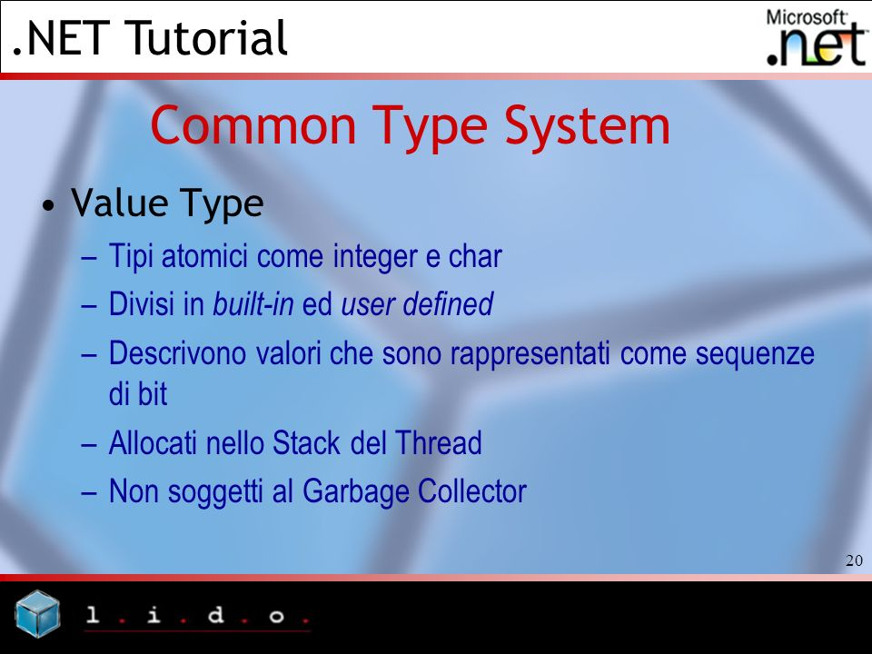 Common Type System Value Type Tipi atomici come integer e char