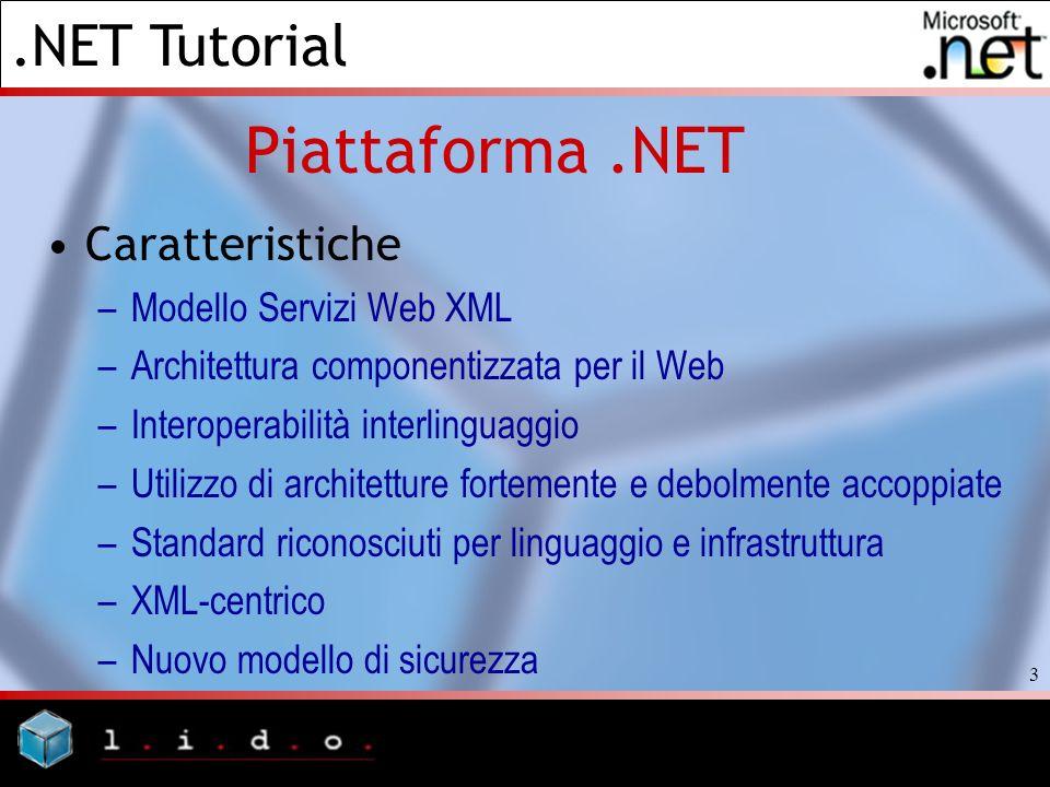 Piattaforma .NET Caratteristiche Modello Servizi Web XML