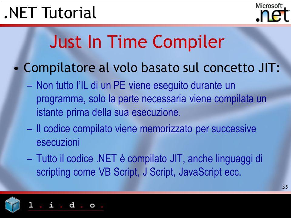 Just In Time Compiler Compilatore al volo basato sul concetto JIT: