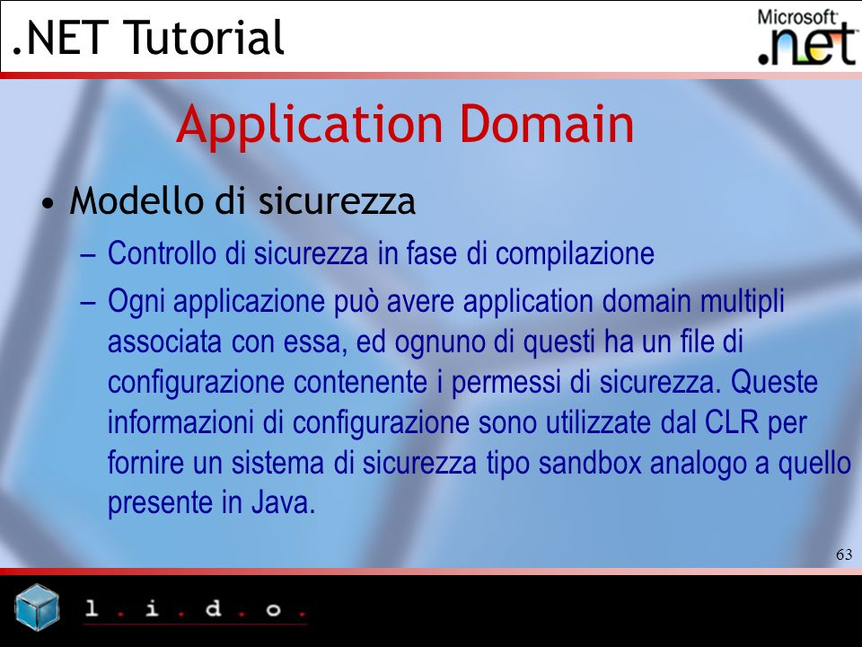 Application Domain Modello di sicurezza