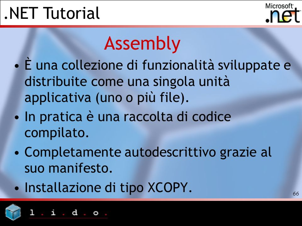 AssemblyÈ una collezione di funzionalità sviluppate e distribuite come una singola unità applicativa (uno o più file).