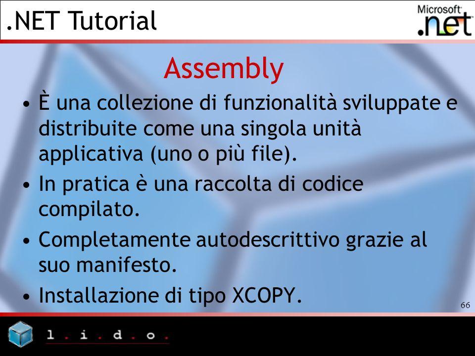 Assembly È una collezione di funzionalità sviluppate e distribuite come una singola unità applicativa (uno o più file).