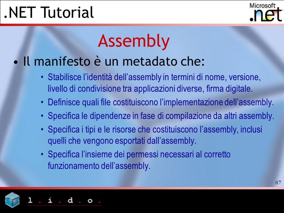 Assembly Il manifesto è un metadato che:
