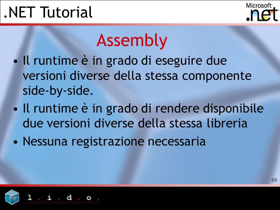AssemblyIl runtime è in grado di eseguire due versioni diverse della stessa componente side-by-side.