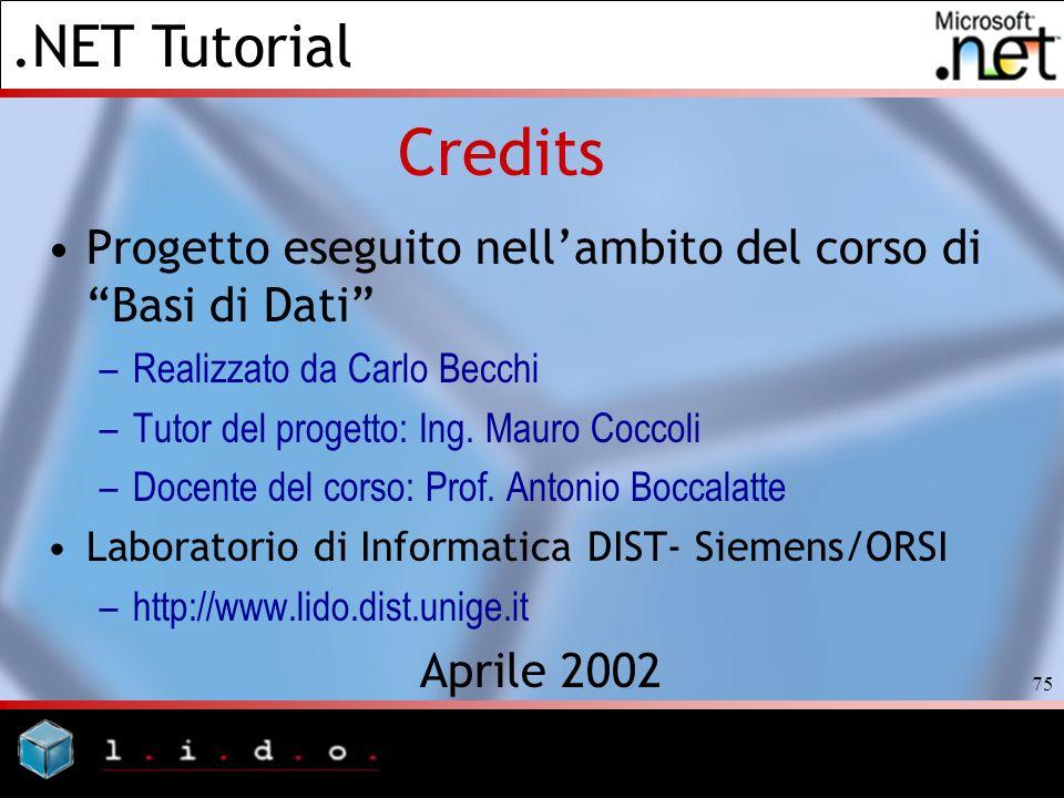 Credits Progetto eseguito nell'ambito del corso di Basi di Dati