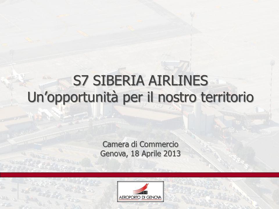 S7 SIBERIA AIRLINES Un'opportunità per il nostro territorio