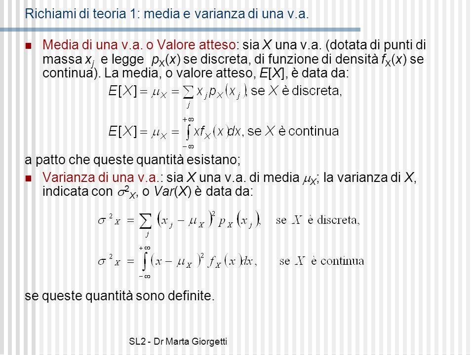 Richiami di teoria 1: media e varianza di una v.a.