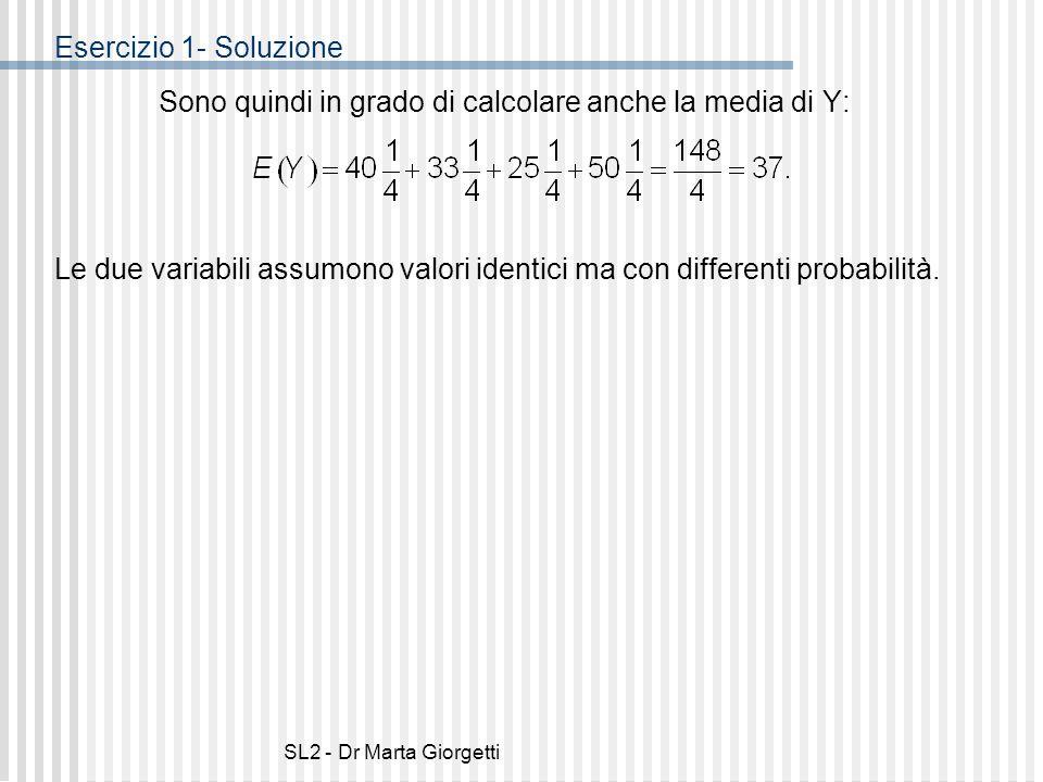 Sono quindi in grado di calcolare anche la media di Y: