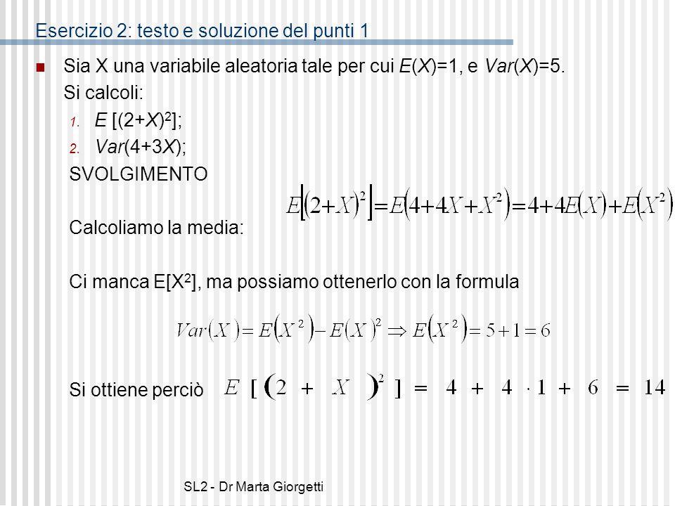 Esercizio 2: testo e soluzione del punti 1