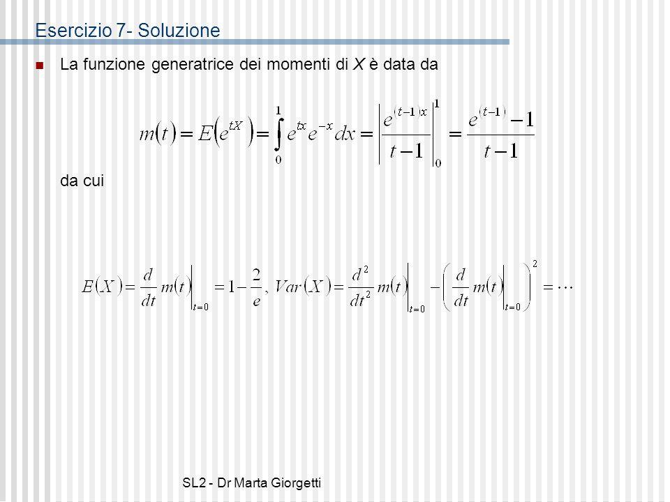 Esercizio 7- Soluzione La funzione generatrice dei momenti di X è data da.