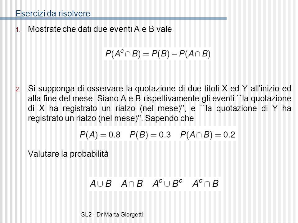 Mostrate che dati due eventi A e B vale