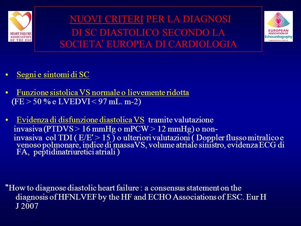 NUOVI CRITERI PER LA DIAGNOSI DI SC DIASTOLICO SECONDO LA SOCIETA' EUROPEA DI CARDIOLOGIA