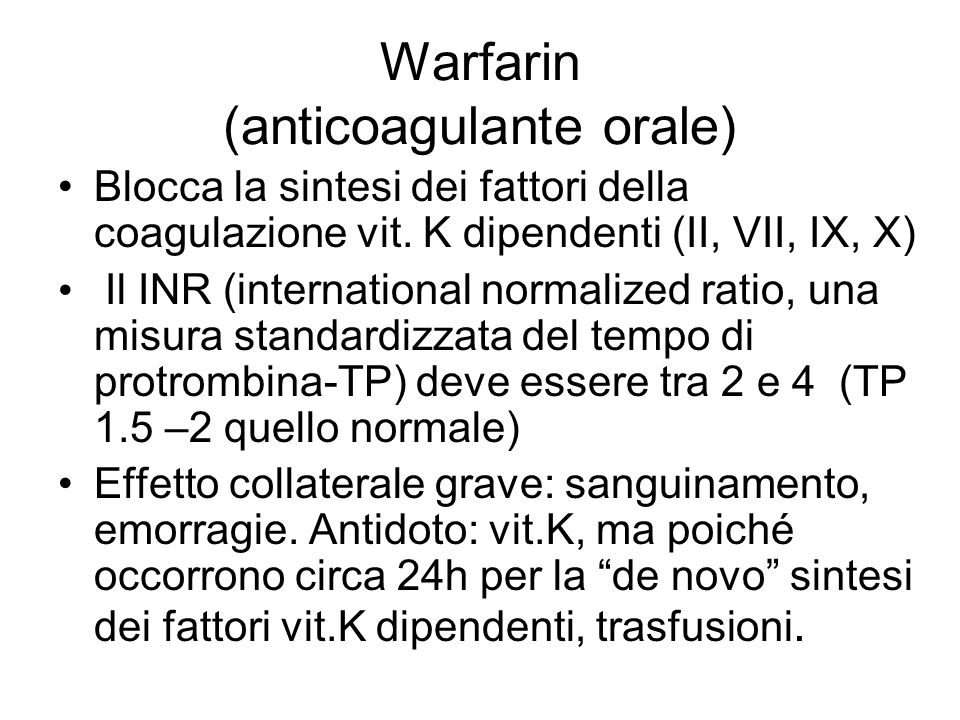 Warfarin (anticoagulante orale)