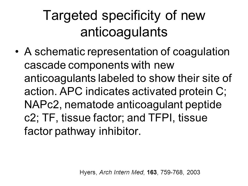 Targeted specificity of new anticoagulants