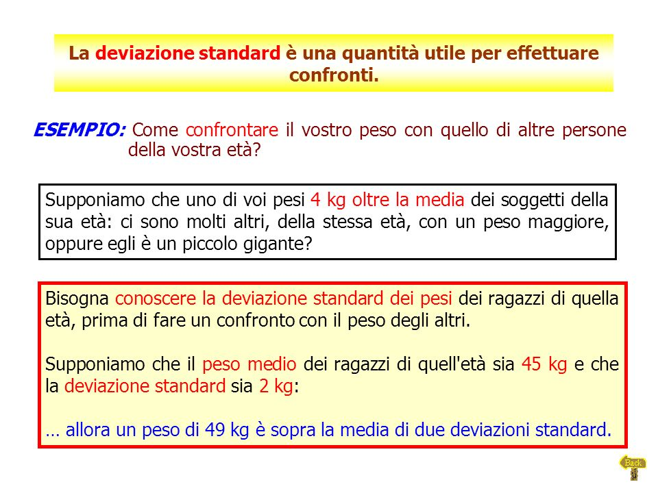 La deviazione standard è una quantità utile per effettuare confronti.