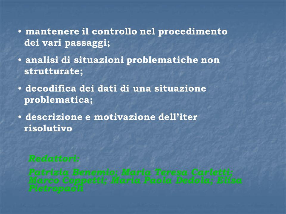 mantenere il controllo nel procedimento dei vari passaggi;