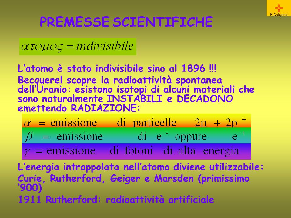 PREMESSE SCIENTIFICHE