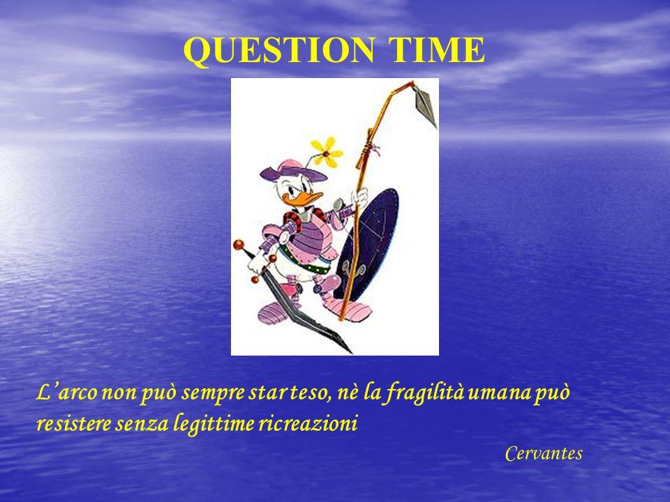 QUESTION TIME L'arco non può sempre star teso, nè la fragilità umana può resistere senza legittime ricreazioni.