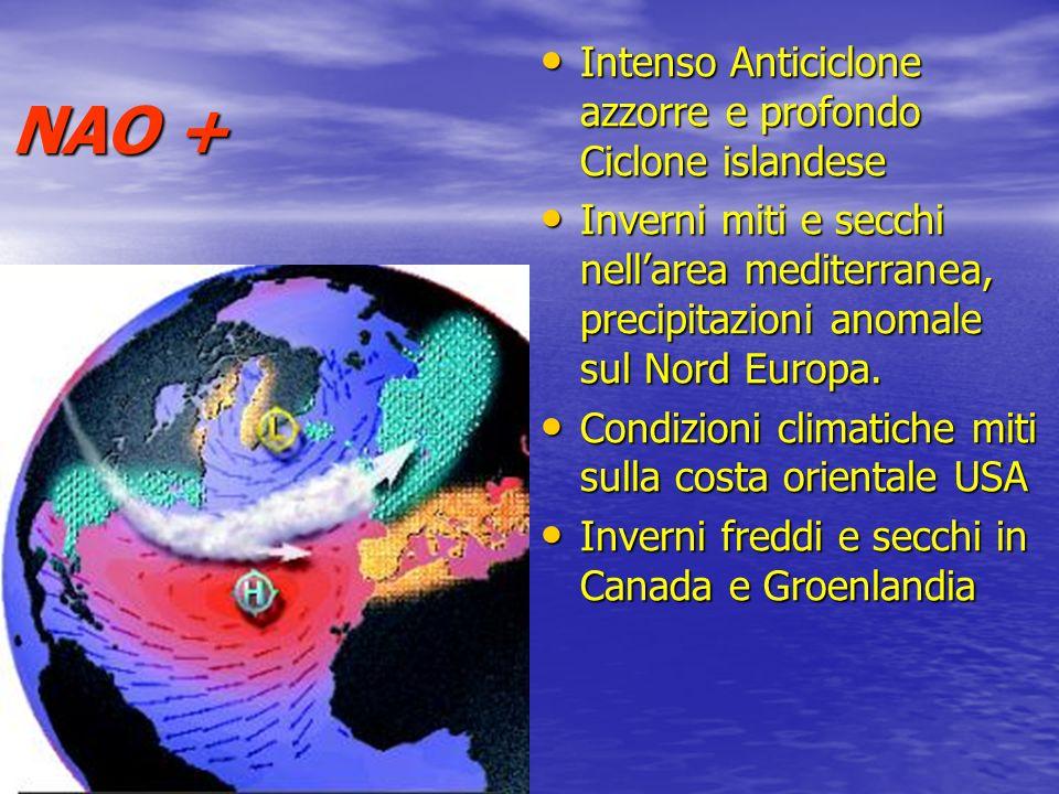NAO + Intenso Anticiclone azzorre e profondo Ciclone islandese