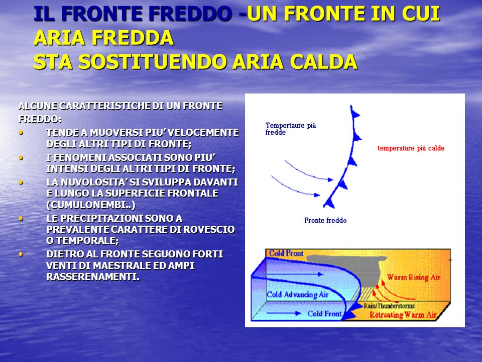 IL FRONTE FREDDO -UN FRONTE IN CUI ARIA FREDDA STA SOSTITUENDO ARIA CALDA