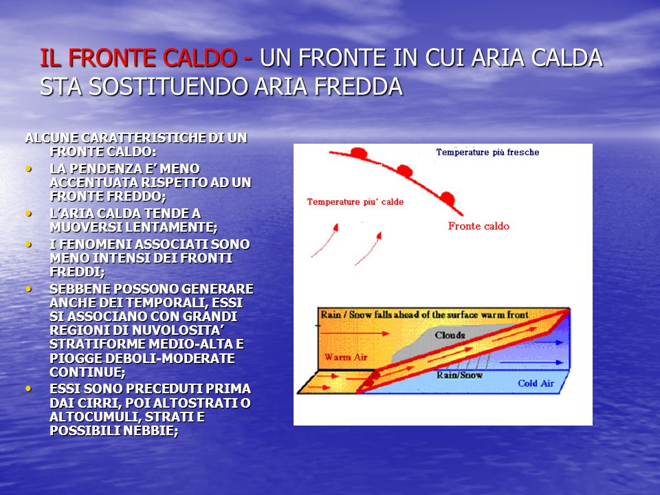 IL FRONTE CALDO - UN FRONTE IN CUI ARIA CALDA STA SOSTITUENDO ARIA FREDDA