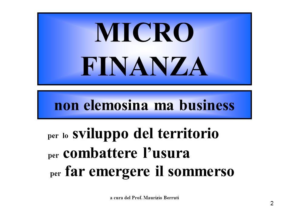 MICRO FINANZA non elemosina ma business per lo sviluppo del territorio