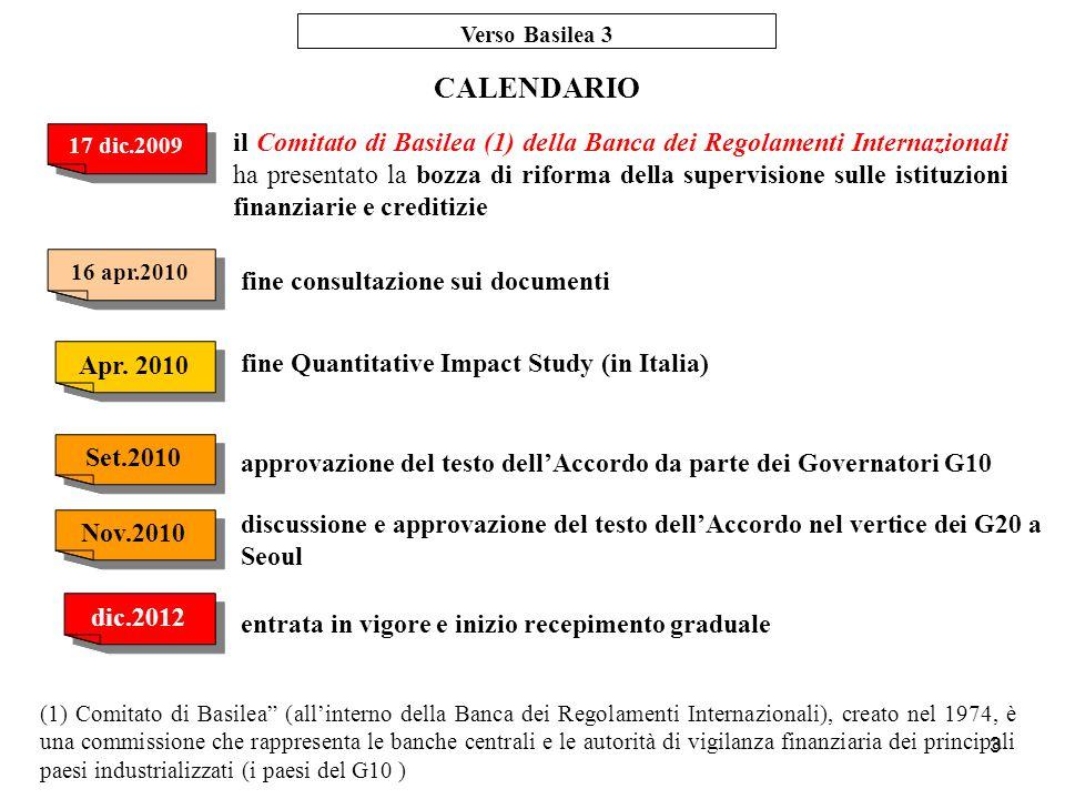 Verso Basilea 3 CALENDARIO. 17 dic.2009.