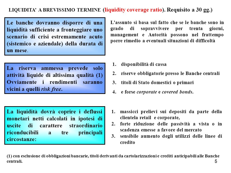 LIQUIDITA' A BREVISSIMO TERMINE (liquidity coverage ratio)