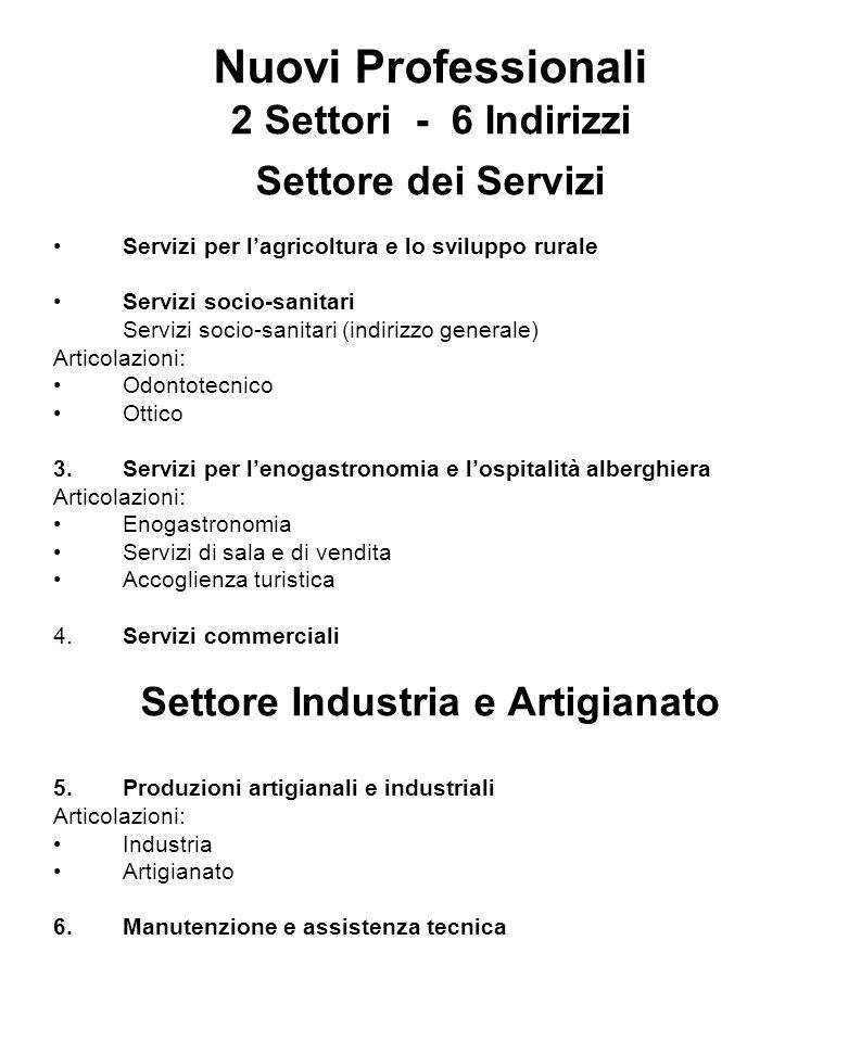 Nuovi Professionali 2 Settori - 6 Indirizzi