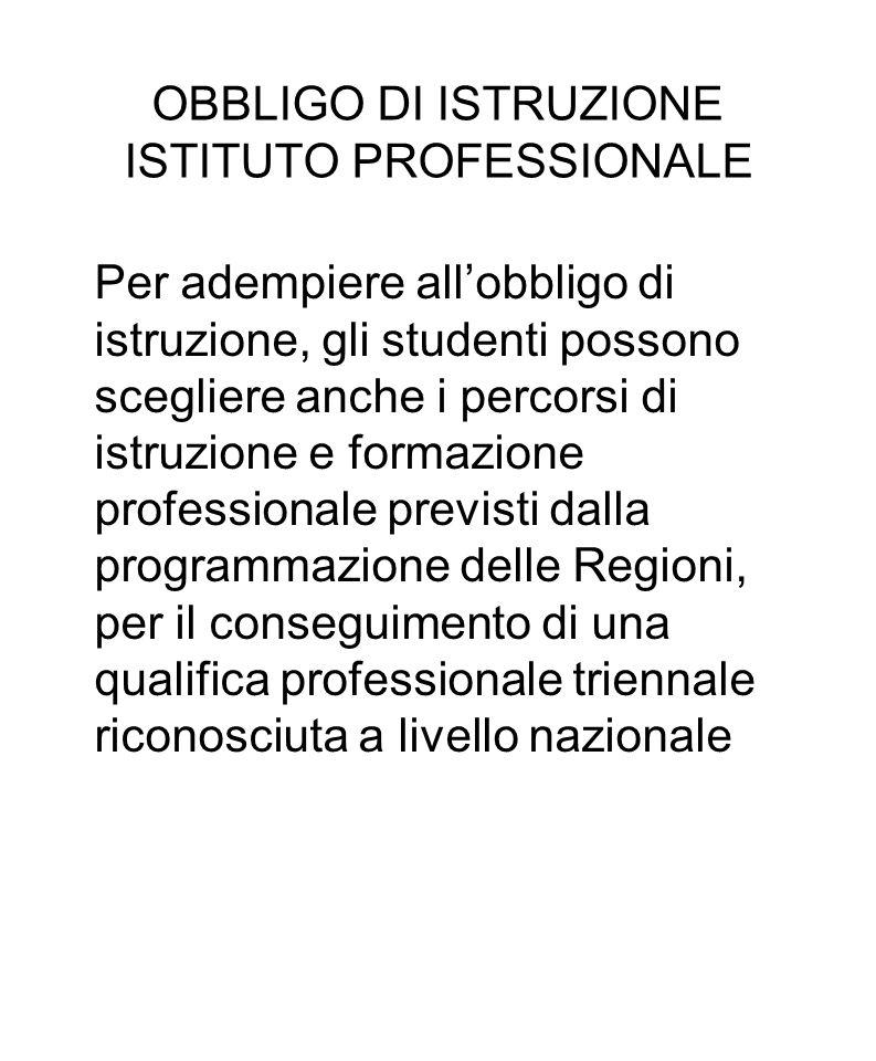 OBBLIGO DI ISTRUZIONE ISTITUTO PROFESSIONALE