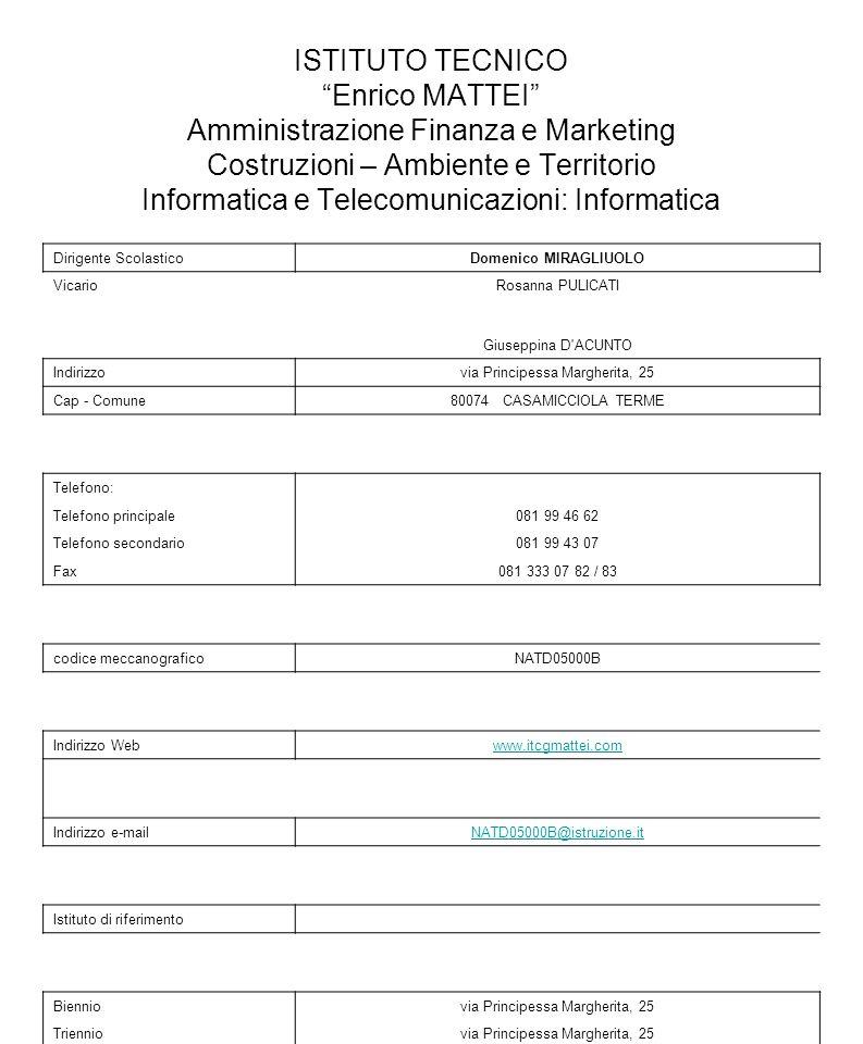 ISTITUTO TECNICO Enrico MATTEI Amministrazione Finanza e Marketing Costruzioni – Ambiente e Territorio Informatica e Telecomunicazioni: Informatica