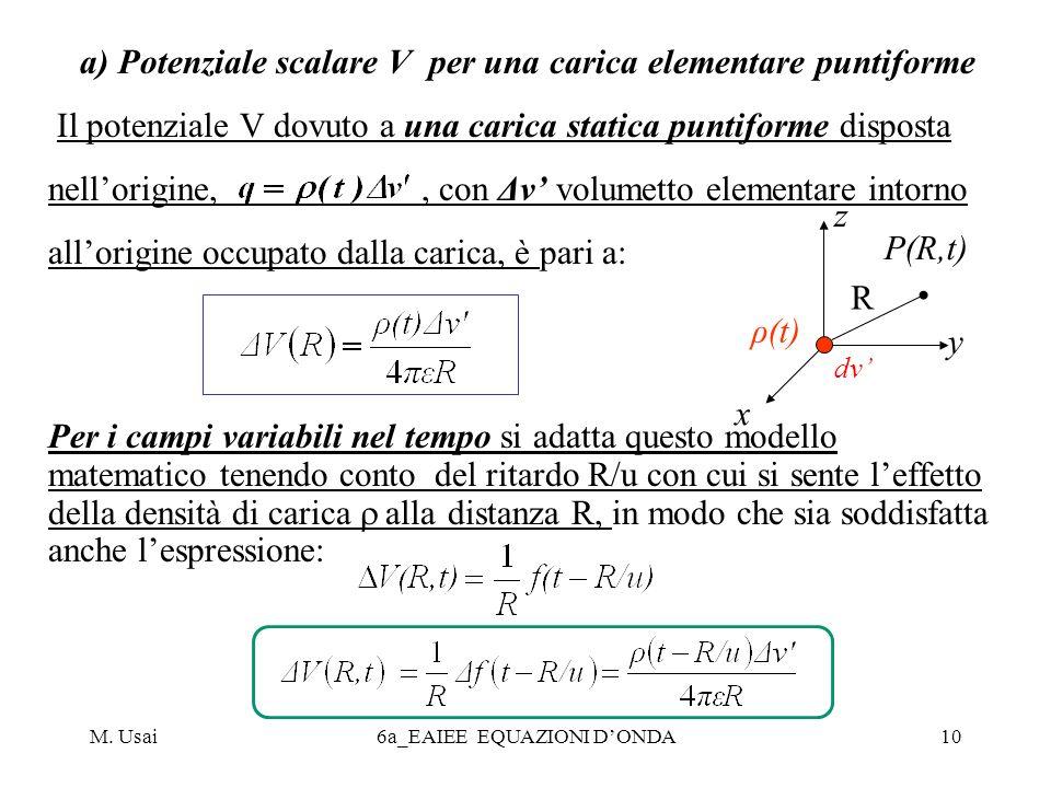 a) Potenziale scalare V per una carica elementare puntiforme