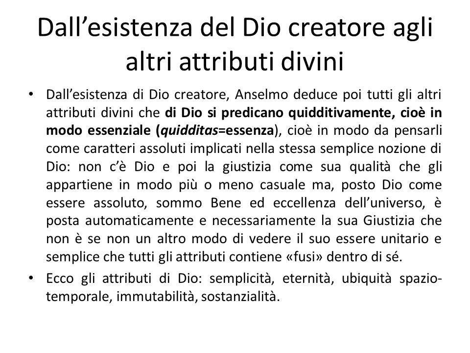 Dall'esistenza del Dio creatore agli altri attributi divini