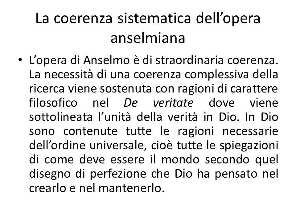 La coerenza sistematica dell'opera anselmiana