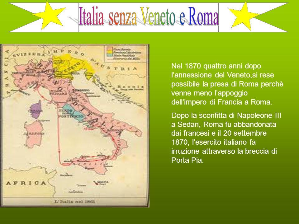 Italia senza Veneto e Roma