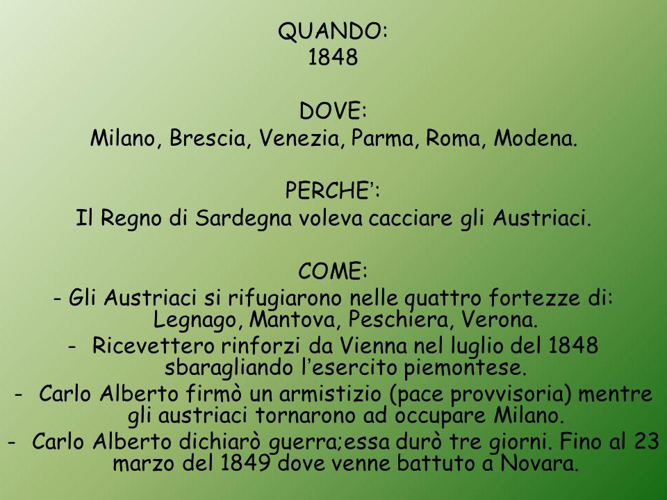 Milano, Brescia, Venezia, Parma, Roma, Modena. PERCHE':