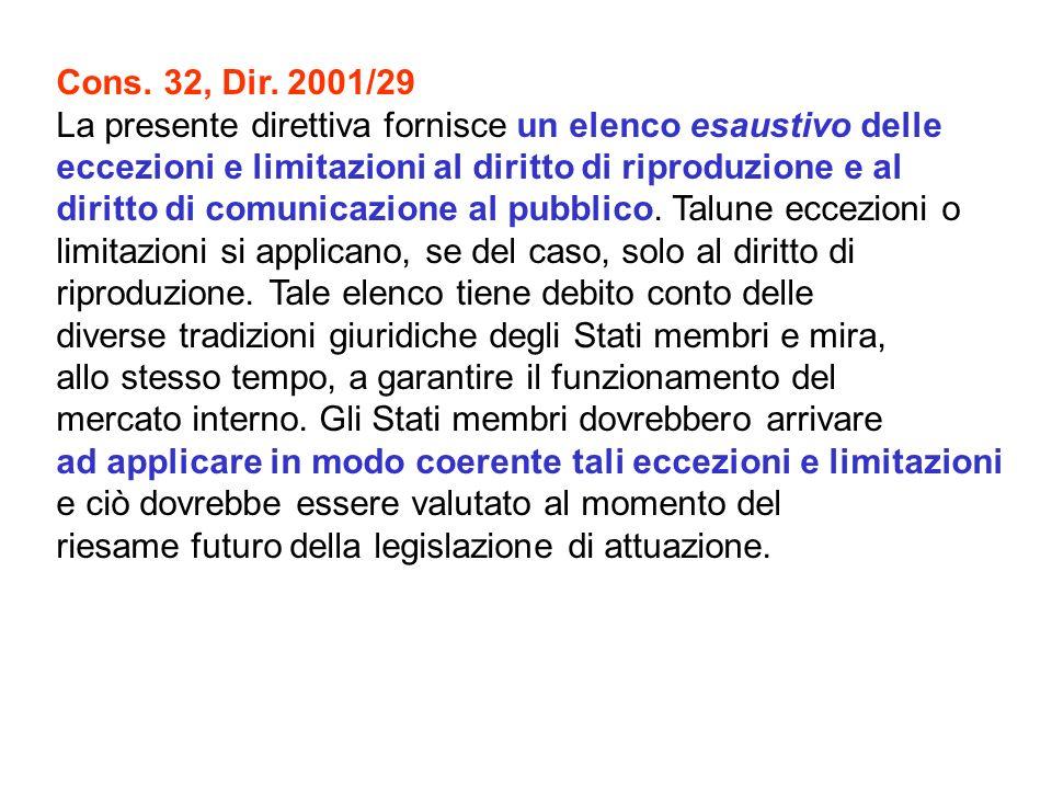 Cons. 32, Dir. 2001/29 La presente direttiva fornisce un elenco esaustivo delle. eccezioni e limitazioni al diritto di riproduzione e al.