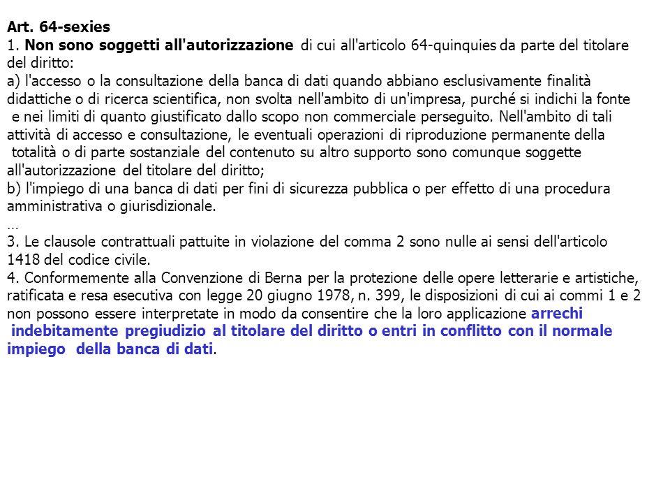 Art. 64-sexies 1. Non sono soggetti all autorizzazione di cui all articolo 64-quinquies da parte del titolare del diritto: