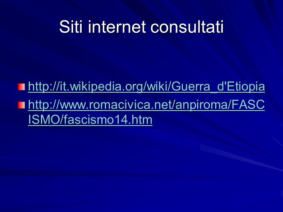 Siti internet consultati