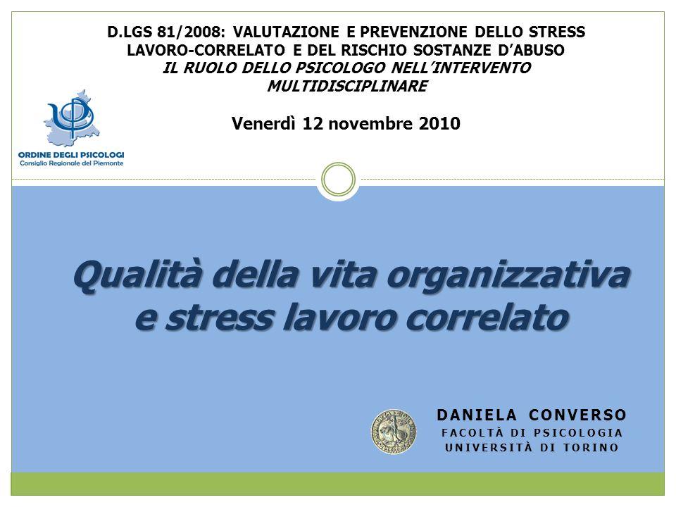 Qualità della vita organizzativa e stress lavoro correlato