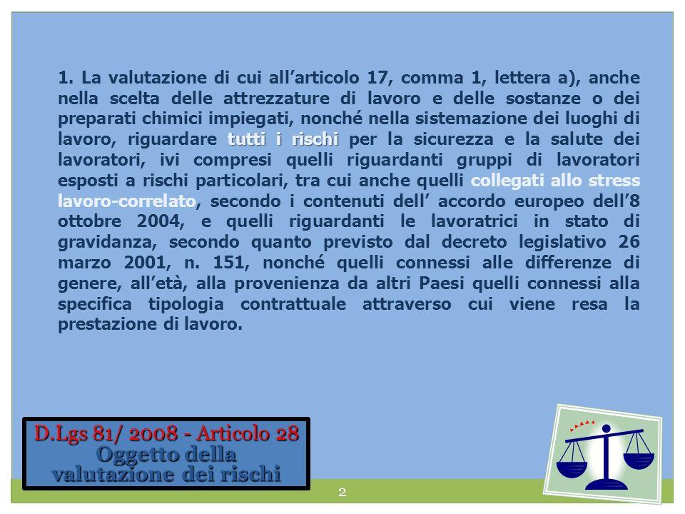 D.Lgs 81/ 2008 - Articolo 28 Oggetto della valutazione dei rischi