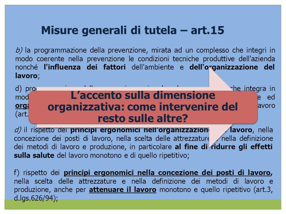 Misure generali di tutela – art.15